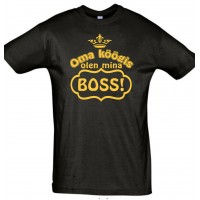 Oma köögis olen mina boss T-särk : Kiri - kullaga