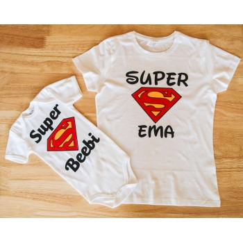 Super ema T-särk ja super beebi body(14 eur/tk)